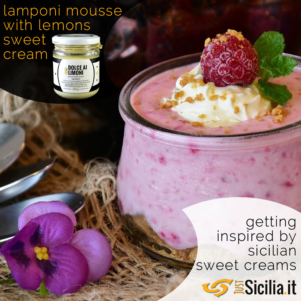Mousse Lamponi with Sicilian lemons sweet cream